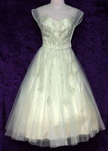 Vtg 50s Embellished Lace ILLUSION Party PROM Wedding Dress Pale