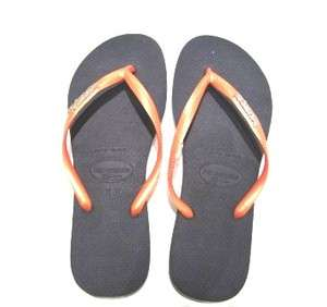 NEW! HAVAIANAS,Slim Fit Navy soles Orange Straps, Logo Met Design UK6