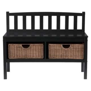 Bench with Storage Baskets   Black.Opens in a new window