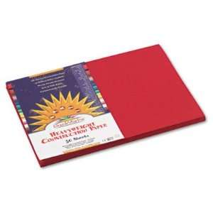 SunWorks Construction Paper   Heavy, 12 x 18, Holiday Red