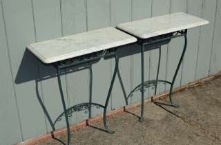 wrought iron marble top demi lune tables pair vintage patio garden