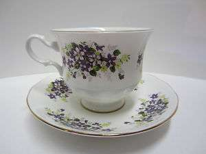Vintage Queen Anne Bone China   Tea / Coffee Cup and Saucer   Violets