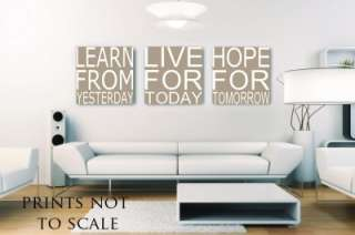 Prints on canvas Positive words Learn Live Hope Beige