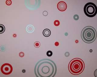 RETRO RED REMOVABLE WALL STICKERS CIRCLES, SPOTS & DOTS
