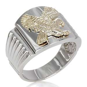 Anthony Jewelry® 2 Tone Sterling Silver Eagle Mens Ring