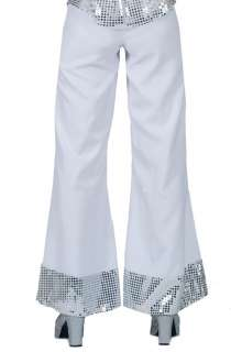 White Disco Pants With Sequin Cuff   Disco Costumes
