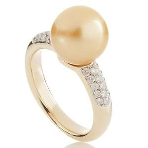 Cultured Imperial Golden South Sea Pearl and Diamond 14K Gold Ring at