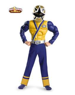 Boys Classic Muscle Gold Power Ranger Samurai Costume   TV and Movie