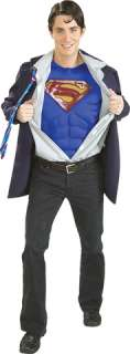 Includes jacket, shirt front with tie and muscle chest. Standard Adult