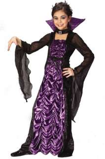 Child costume includes black velvet dress with purple coffin cloth