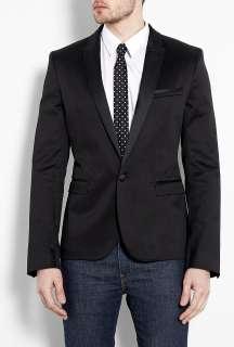 Black Slim Fit Cotton Tux Blazer by D&G