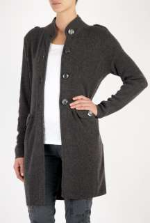 Madeleine Thompson  Charcoal Military Cashmere Cardigan by Madeleine