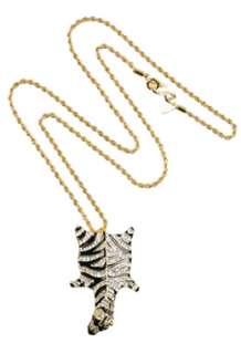 Gold Flat Zebra Pendant by Kenneth Jay Lane   Gold   Buy Jewellery