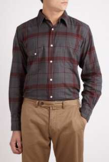 Universal Works  Grey and Red Check Work Shirt by Universal Works