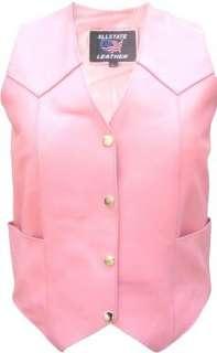 Ladies PINK Leather MOTORCYCLE Jacket Chaps Vest Gloves