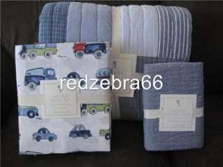 Pottery Barn Kids Hayden Twin Quilt+Sham+Cars Trucks Sheet Set Blue