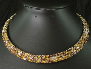Piece Set Wedding Bridal Bridesmaids Crystal Golden Choker Necklace