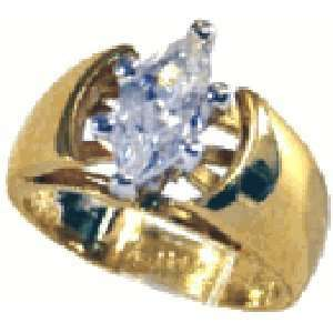 com W 646 Ladies Solitaire Marquise Cut 1 Carat Stone Ring with Cubic