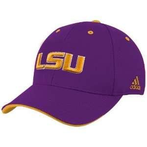 adidas LSU Tigers Purple Basic Logo Flex Fit Hat Sports