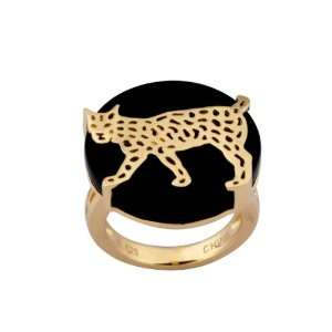 Gold Plated Sterling Silver Black Agate Leopard Ring, Size 8 Jewelry