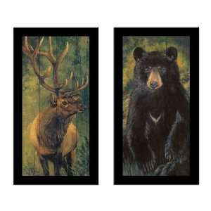 animal art 2 Piece FRAMED PRINT SET   Penny Wagner 16x28 Each Home