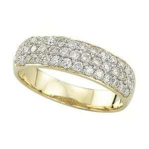 14K Yellow Gold Pave Set Round Diamond Anniversary Band Ring