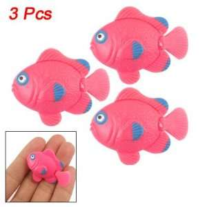 Como Aquarium 3 Pcs Blue Pink Plastic Manmade Tropical Fish