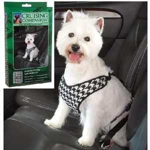 Cruising Companion Houndstooth Dog Car Harness, Small Medium, Black