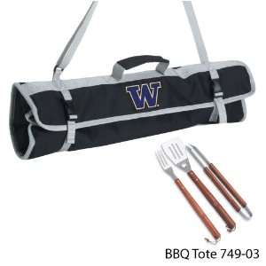 of Washington Printed 3 Piece BBQ Tote BBQ set Black