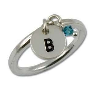 Sterling Silver Round Initial Ring with Birthstone Jewelry