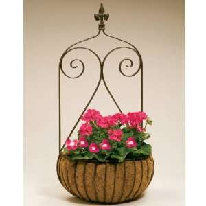 Wrought Iron Finial Top Wall Basket Planters with Coco