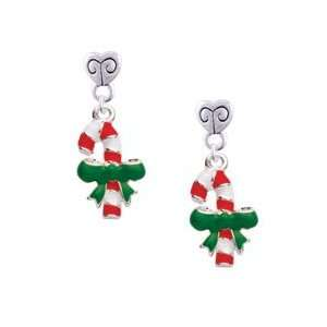 Cane with Green Bow Mini Heart Charm Earrings Arts, Crafts & Sewing