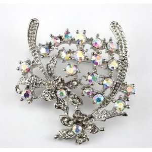 Clear Swarovski Crystal Floral Brooch Pin