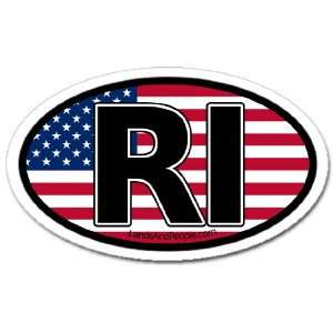 Rhode Island RI and US Flag Car Bumper Sticker Decal Oval Automotive