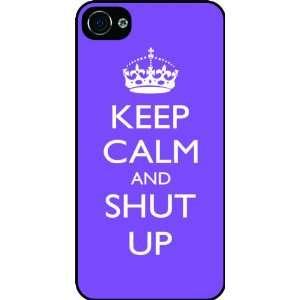 Shut Up   Violet Color Rubber Black iphone Case (with bumper) Cover