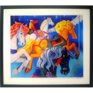 Horse Carousel Nostalgic Art Signed Limited Edition Print