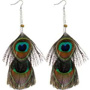 Gold Tone Chain Drop Peacock Feather Earrings Jewelry