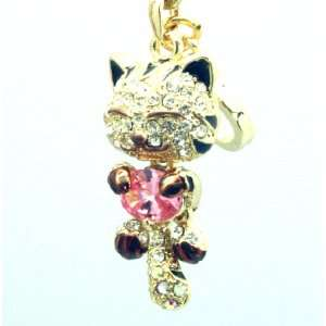 Kitty Cat Crystal Phone Charm / Phone Strap Everything