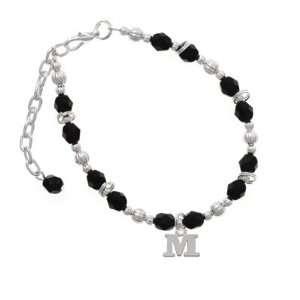 com Small Silver Initial   M Black Czech Glass Beaded Charm Bracelet