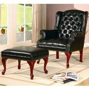 Coaster Furniture Tufted Wing Back Chair w/ Ottoman (Black