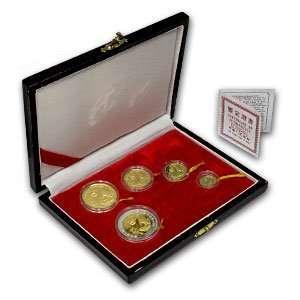 1993 (5 Coin PROOF) Gold Chinese Panda Set   (box and coa