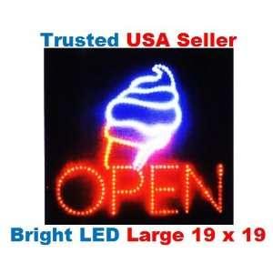 Large Open Ice Cream Cone Yogurt Signs Led Neon Business