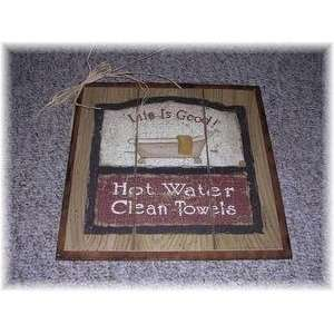 Water Clean Towels Country Bathroom Wall Art Bath Sign