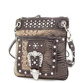 Black Crocodile Rhinestone Buckle Western Messenger Purse