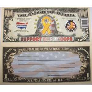 Set of 10 Bills Support Our Troops Million Dollar Bill Toys & Games