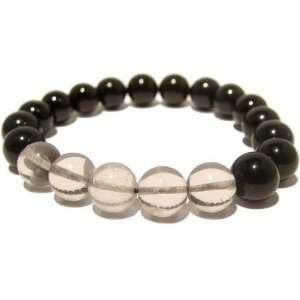 23 Stretch Quartz 10mm Black Clear Crystal Stone 7.7 Jewelry