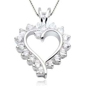 Sterling Silver Cubic Zirconia Heart Pendant Necklace, 18 Jewelry