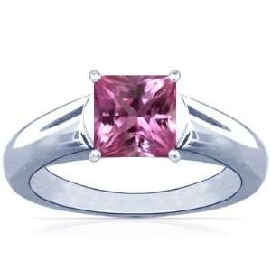 14K White Gold Princess Cut Pink Sapphire Solitaire Ring Jewelry