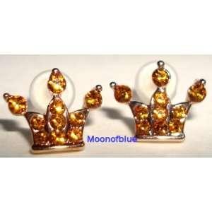 Cute Swarovski Crystal Topaz Crown Stud Earrings 8MM