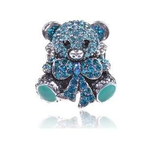 Aqua Marine Blue Tiffany Ann Cute Teddy Bear Crystal Rhinestone Ring